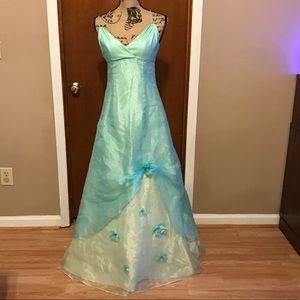 David's Bridal Prom Formal Dress 4 Teal Flowers